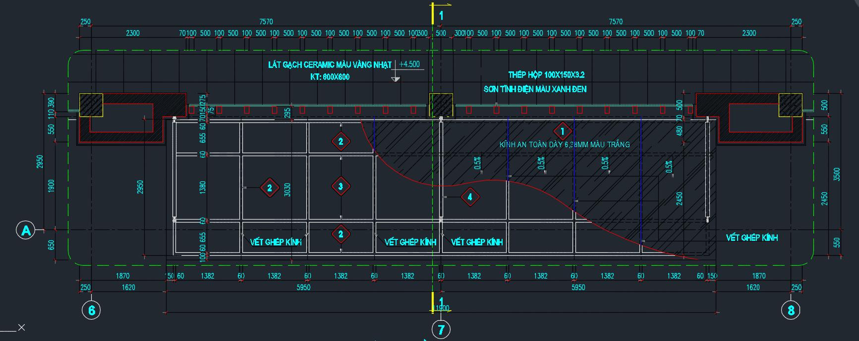 file autocad tính toán thiết kế mái đón kính