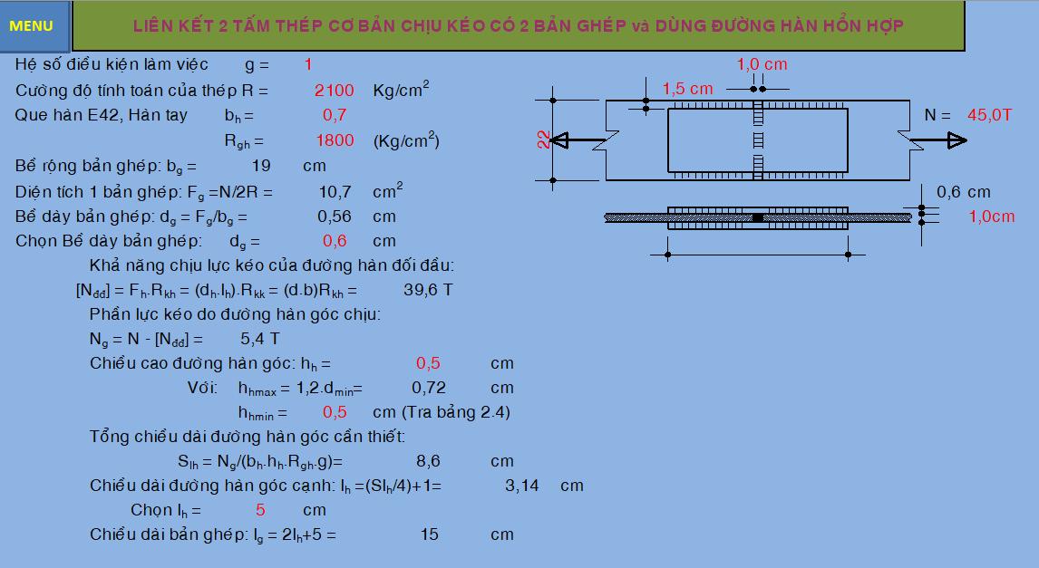 File Excel tính đường hàn
