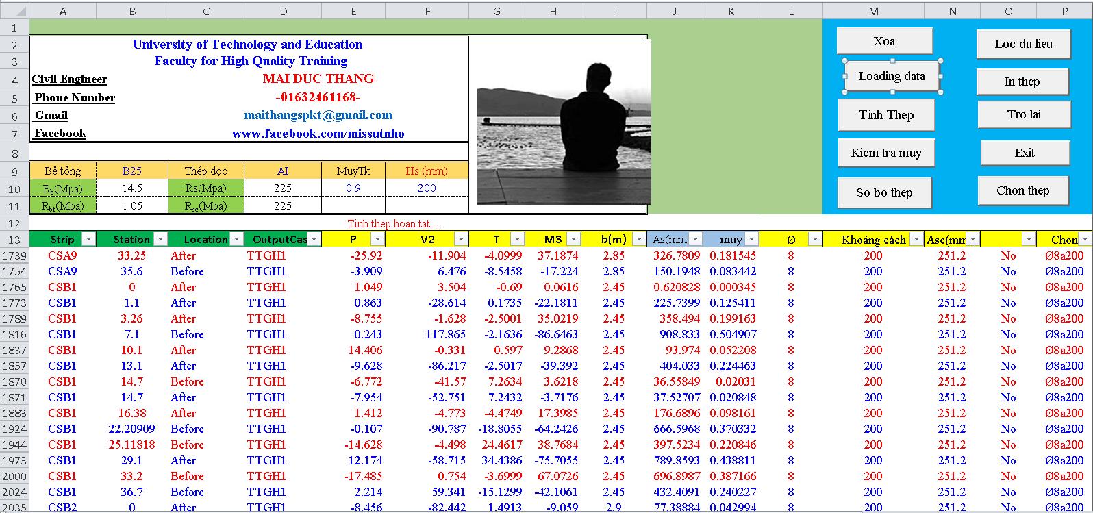 File Excel tính thép sàn 2 phương