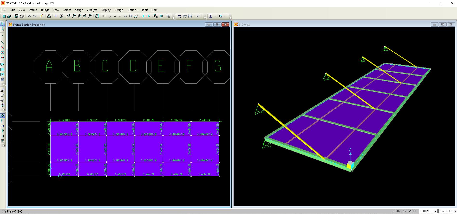 file sap2000 tính toán thiết kế mái đón kính