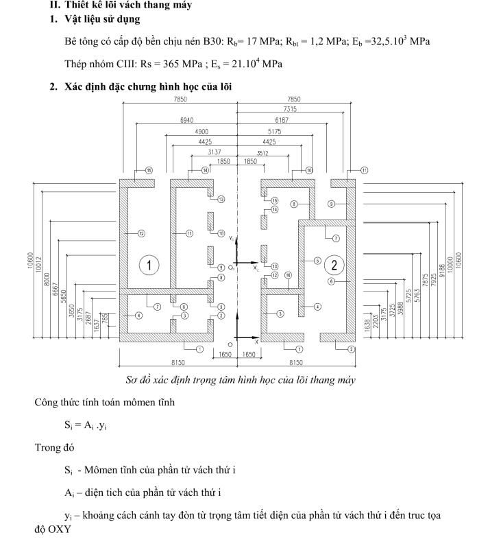 tính toán thiết kế lõi thang máy sơ đồ