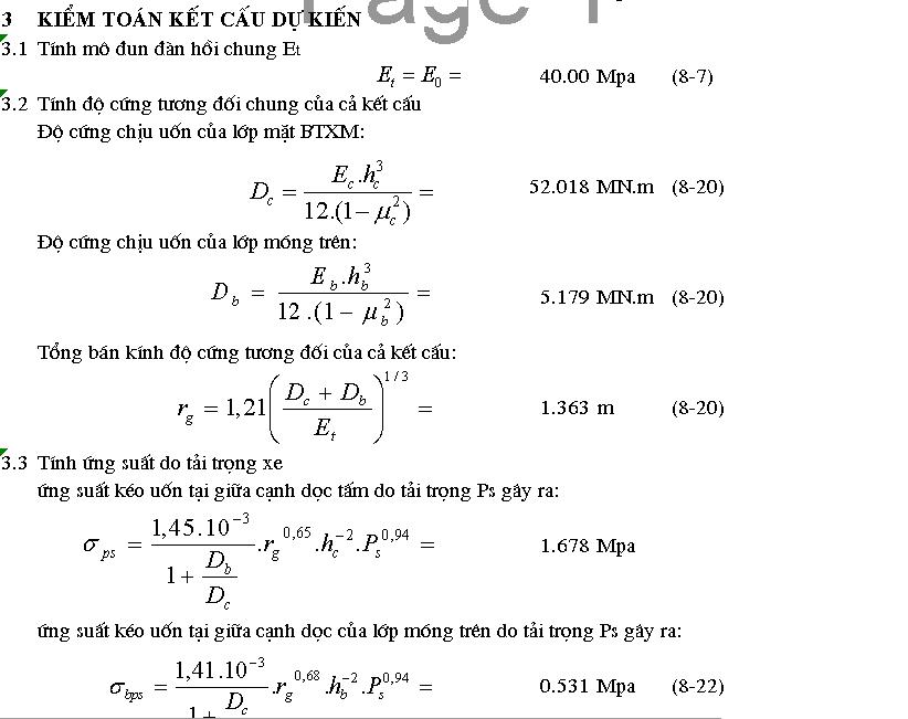 File Excel tính toán kết cấu áo đường cứng kiếm toán kết cấu