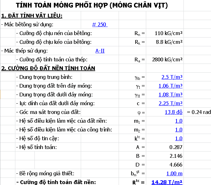 Bảng excel tính toán móng đơn lệch tâm