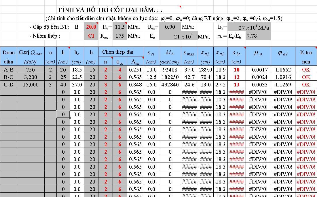 File Excel tính thép dầm từ Etabs