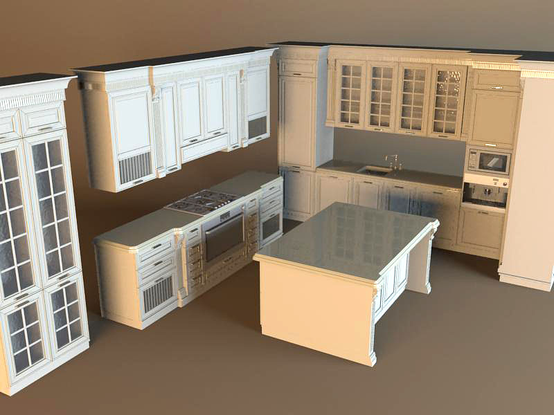 Thư viện tủ bếp 3dsma mẫu 3