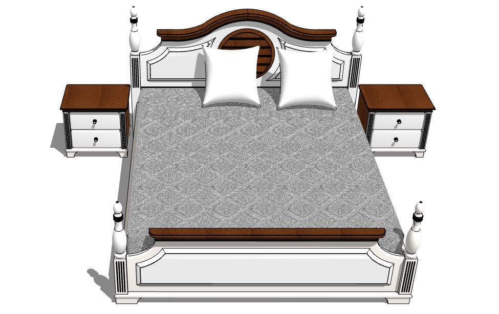 thư viện sketchup tân cổ điển giường