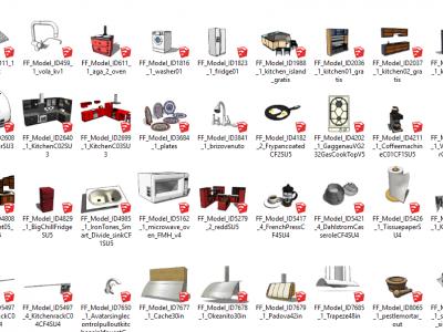 Thư viện tủ bếp sketchup – Đầy đủ các vật dụng trong tủ bếp
