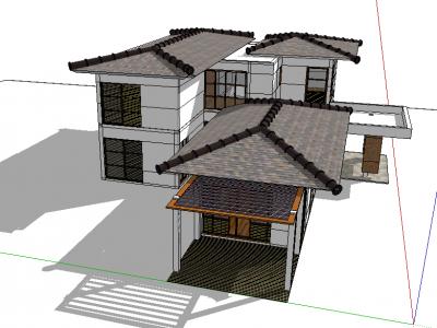 Mẫu biệt thự sketchup thiết kế đơn giản nhưng rất đẹp