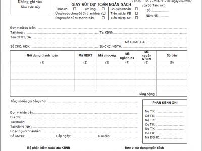 Mẫu rút dự toán ngân sách nhà nước – Tài liệu hay nhất