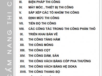 Sổ tay thi công phần kết cấu Coteccons chuẩn nhất
