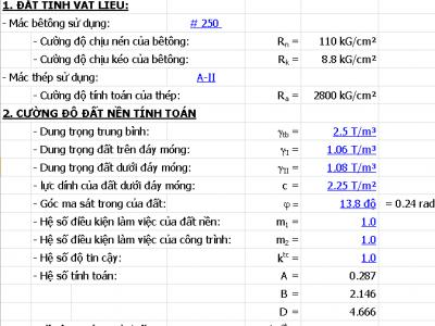 Bảng excel tính toán móng đơn lệch tâm đơn giản, tiện lợi