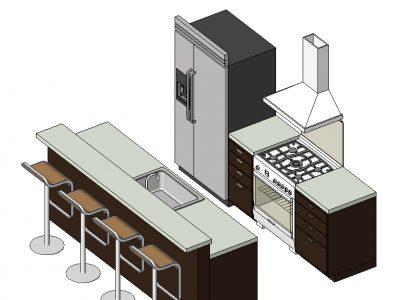 Thư viện phòng bếp revit đẹp, đầy đủ công năng