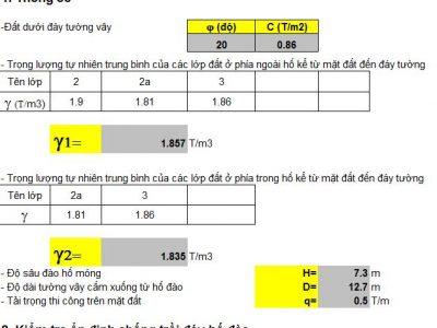 Bảng tính kiểm tra hố móng, tiện lợi, chính xác