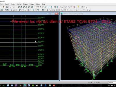 File excel lọc nội lực dầm từ ETABS theo TCVN 5574 – 2012