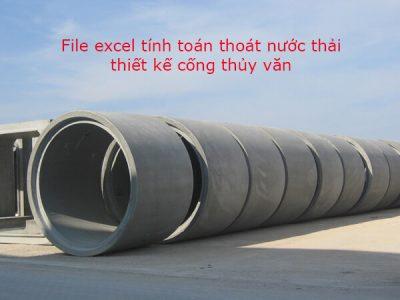 File excel tính toán thoát nước thải thiết kế cống thủy văn